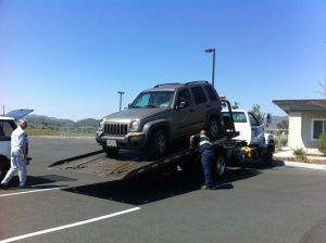 My Jeep getting towed